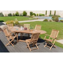 "Table & 6 Assises de Jardin ""Deka"" 240cm Naturel"