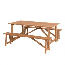 "Table & 2 Bancs de Jardin ""Olan"" 180cm Naturel"