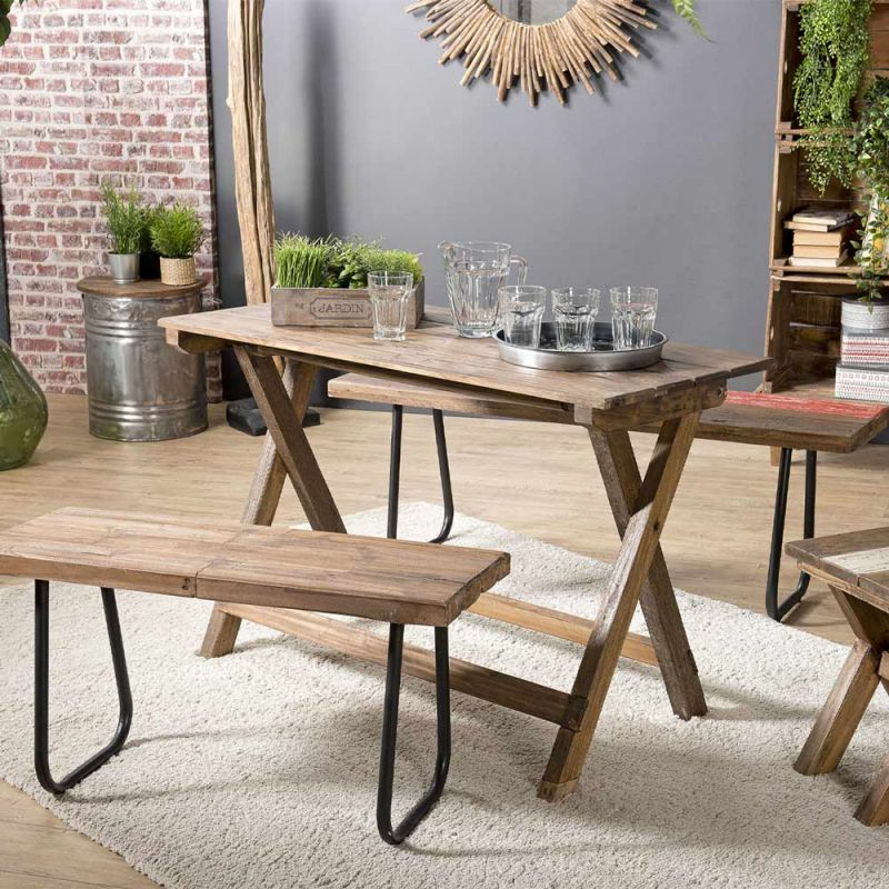 Table Pliante Vintage En Bois Chill 120cm Naturel