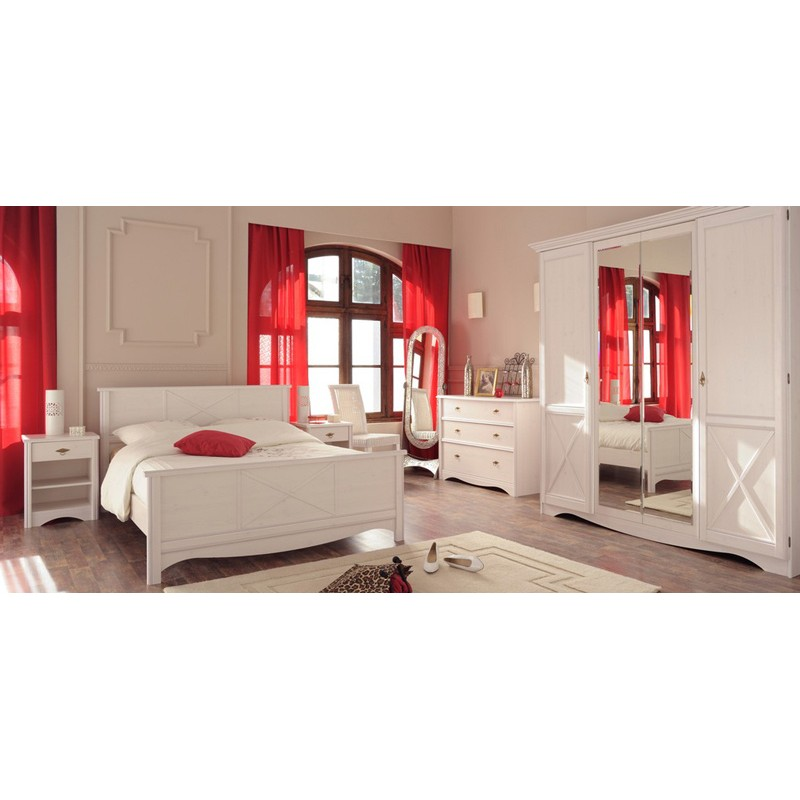 lit adulte 160x200cm charme blanc. Black Bedroom Furniture Sets. Home Design Ideas