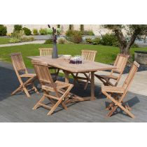 "Table & 6 Chaises de Jardin ""Terza"" 240cm Naturel"