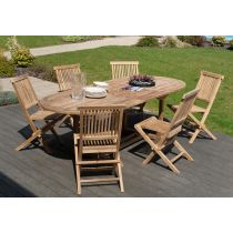 "Table & 6 Chaises de Jardin ""Vano"" 240cm Naturel"