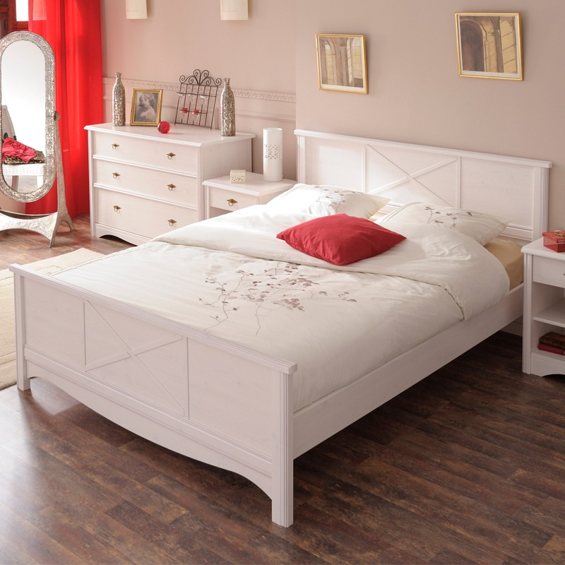 Lit adulte 140x190cm charme blanc for Lit adulte complete solde