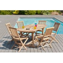 "Table & 6 Chaises de Jardin ""Glova"" 200cm Naturel"