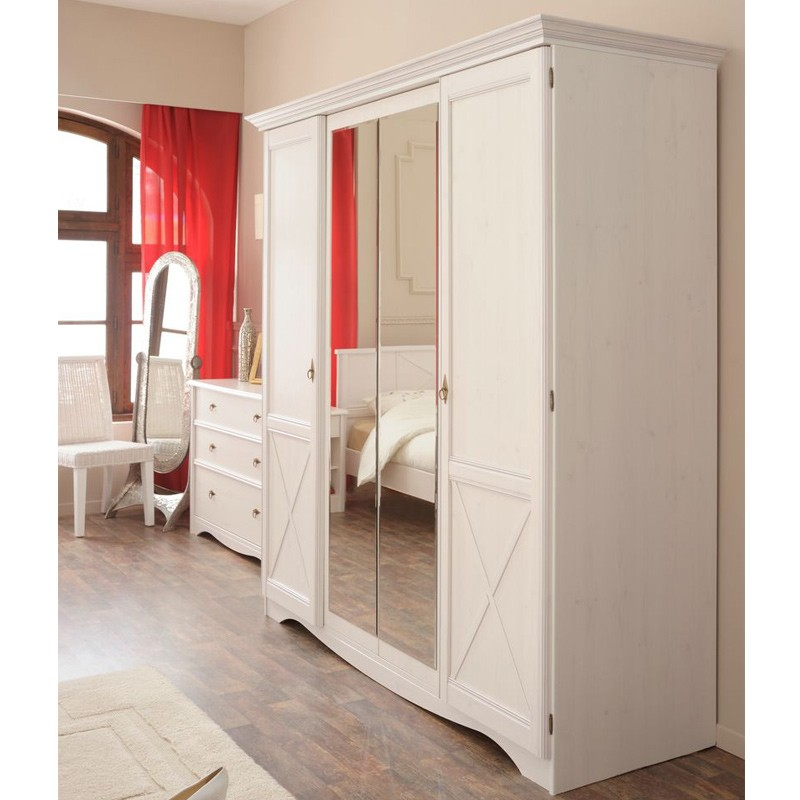 armoire 4 portes charme blanc. Black Bedroom Furniture Sets. Home Design Ideas