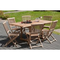 "Table & 6 Chaises de Jardin ""Driba"" 180cm Naturel"