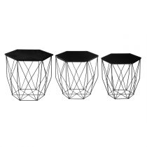"Lot de 3 Tables à Café Design ""Kumi"" 45cm Noir"