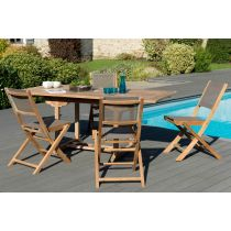 "Table & 4 Chaises de Jardin ""India"" 180cm Taupe"