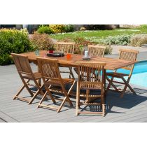 "Table & 6 Chaises de Jardin ""Troxi"" 240cm Naturel"
