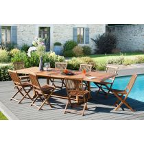 "Table & 8 Chaises de Jardin ""Troxi"" 300cm Naturel"
