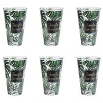 "Lot de 6 Gobelets en Verre ""Jungle Summer"" 31cl Multicolore"