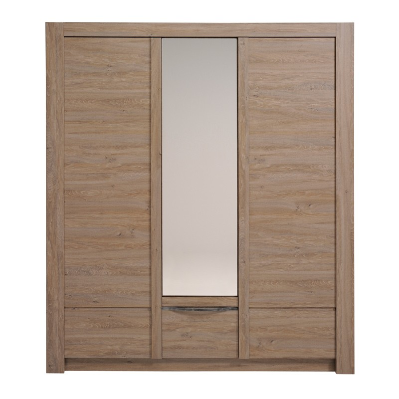 armoire 3 portes natura marron. Black Bedroom Furniture Sets. Home Design Ideas