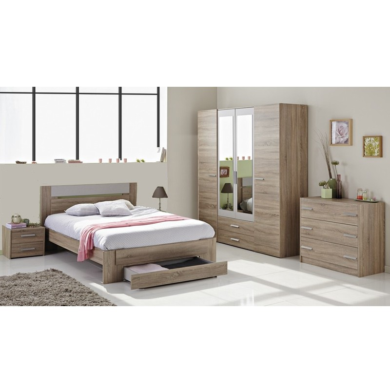 Lit Adulte 140x190cm Wood Beige