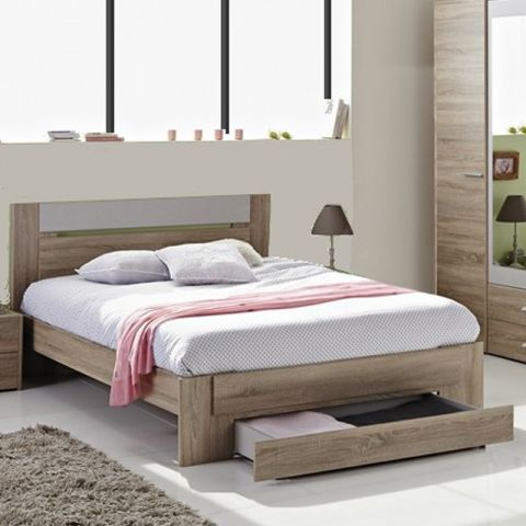 "Lit Adulte 140x190cm ""Wood"" Beige"