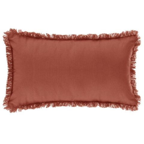 "Coussin Déhoussable Franges ""Fringe"" 30x50cm Terracotta"