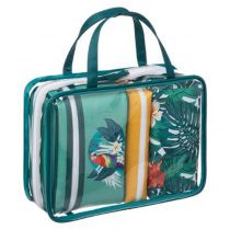 "Set de 4 Trousses de Toilettes ""Tropical"" 27cm Vert"