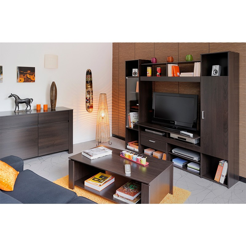 meuble tv mural nathan caf. Black Bedroom Furniture Sets. Home Design Ideas