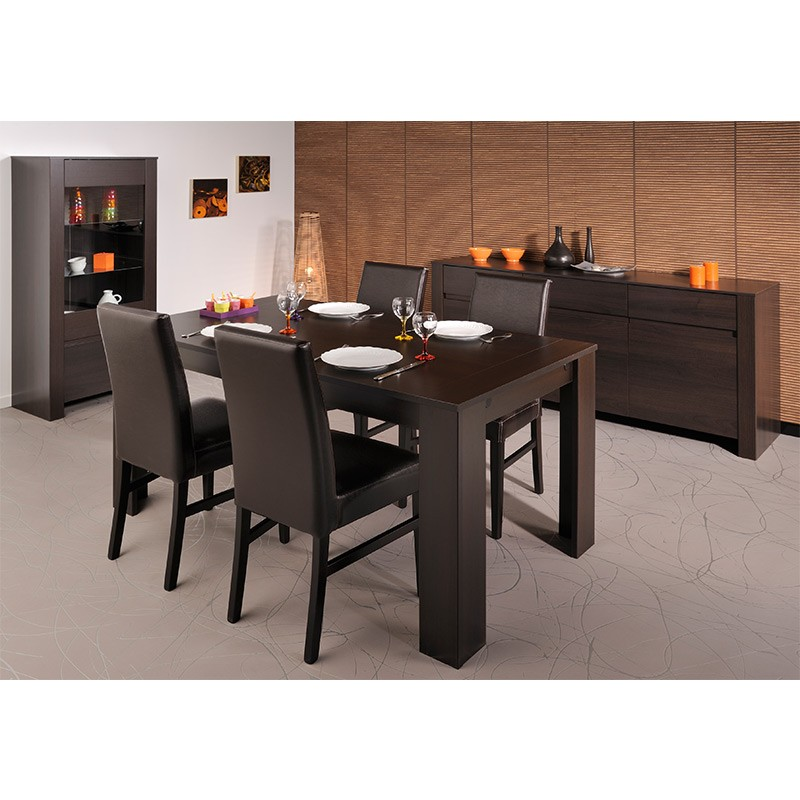 table de repas nathan 160cm caf. Black Bedroom Furniture Sets. Home Design Ideas