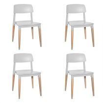 "Lot de 4 Chaises Design Enfant ""Soa"" 52cm Gris"