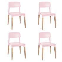 "Lot de 4 Chaises Design Enfant ""Soa"" 52cm Rose"