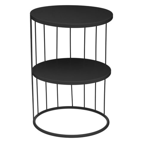 "Table d'Appoint Design Métal ""Kobu"" 36cm Noir"