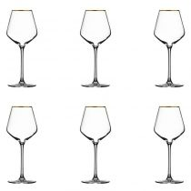 "Lot de 6 Verres à Vin ""Milla"" 38cl Or"