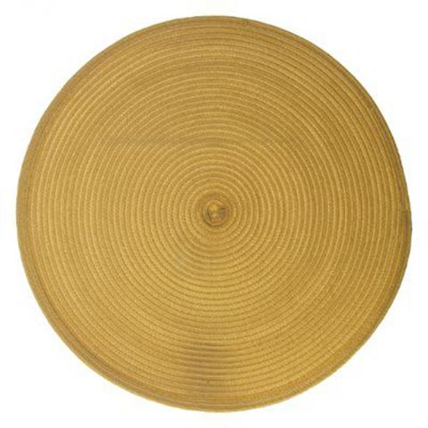"Set de Table Rond ""Tressé"" 38cm Moutarde"