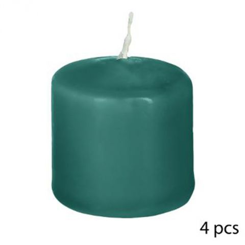 "Lot de 4 Bougies Votives ""Basic"" 3cm Vert Émeraude"