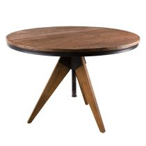 "Table d'Appoint Design Teck ""Wangle"" 70cm Naturel"