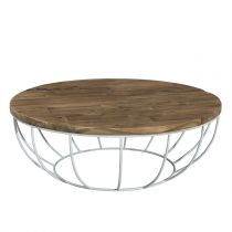 "Table Basse Design Ronde ""Wangle"" 100cm Blanc"