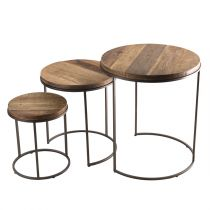 "Lot de 3 Tables Gigognes ""Wangle"" 56cm Naturel"