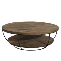 "Table Basse Double Plateau ""Wangle"" 100cm Noir"