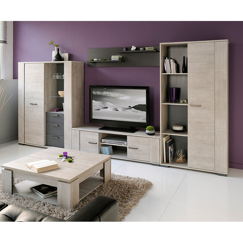 meuble tv boston gris. Black Bedroom Furniture Sets. Home Design Ideas
