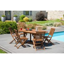 "Table & 6 Chaises de Jardin ""Troxi"" 180cm Naturel"
