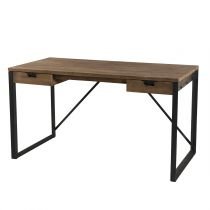 "Bureau 2 Tiroirs Design ""Wangle"" 140cm Naturel"
