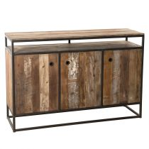 "Buffet 3 Portes & 1 Étagère ""Wangle"" 134cm Naturel"