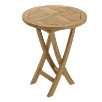 "Table de Jardin Ronde Pliante ""Bayo"" 77cm Naturel"