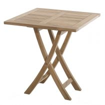 "Table de Jardin Carrée Pliante ""Bayo"" 75cm Naturel"