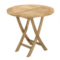 "Table de Jardin Ronde Pliante ""Bayo"" 80cm Naturel"