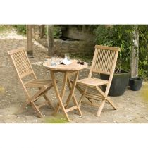 "Table & 2 Chaises de Jardin ""Bayo"" 90cm Naturel"