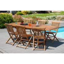 "Table & 6 Chaises de Jardin ""Julian"" 180cm Naturel"