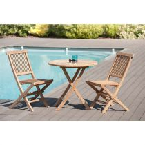 "Table Ronde & 2 Chaises de Jardin ""Bayo"" 90cm Naturel"