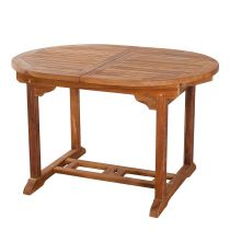 "Table de Jardin Ovale Extensible ""Troxi"" 120-180cm Naturel"