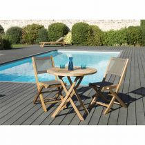 "Table Ronde & 2 Chaises de Jardin ""Bayo"" 88cm Taupe"