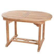 "Table de Jardin Ovale Extensible ""Bayo"" 120-180cm Naturel"