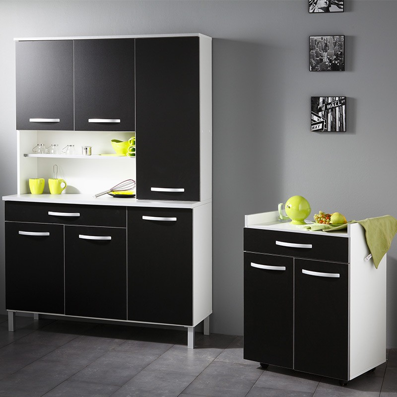 buffet de cuisine smarty 120cm noir. Black Bedroom Furniture Sets. Home Design Ideas