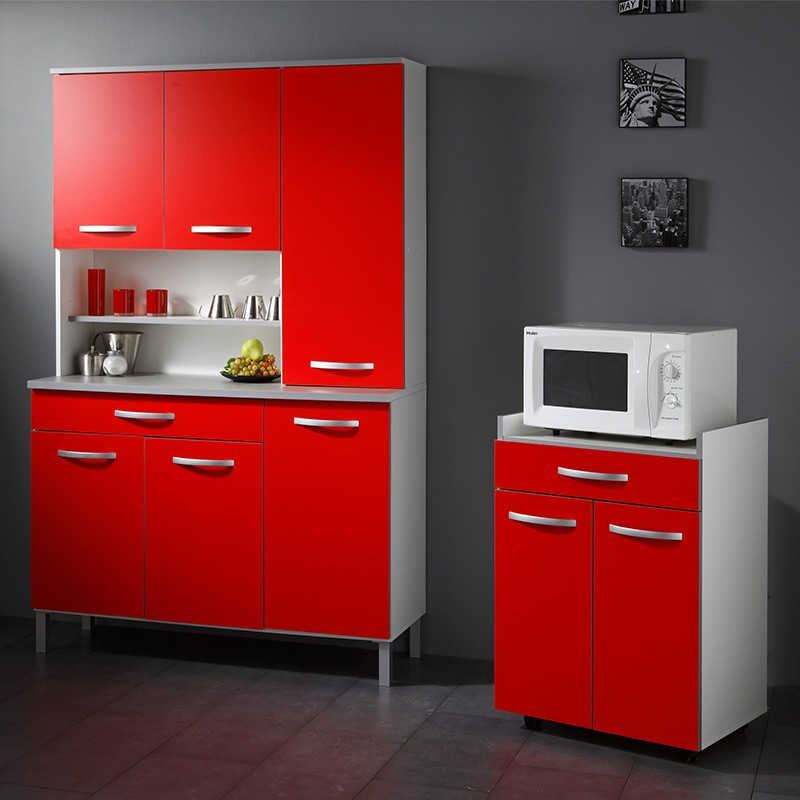 Buffet de cuisine smarty 120cm rouge for Buffet de cuisine noir