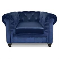 "Fauteuil Design Velours ""Chesterfield"" 110cm Bleu"