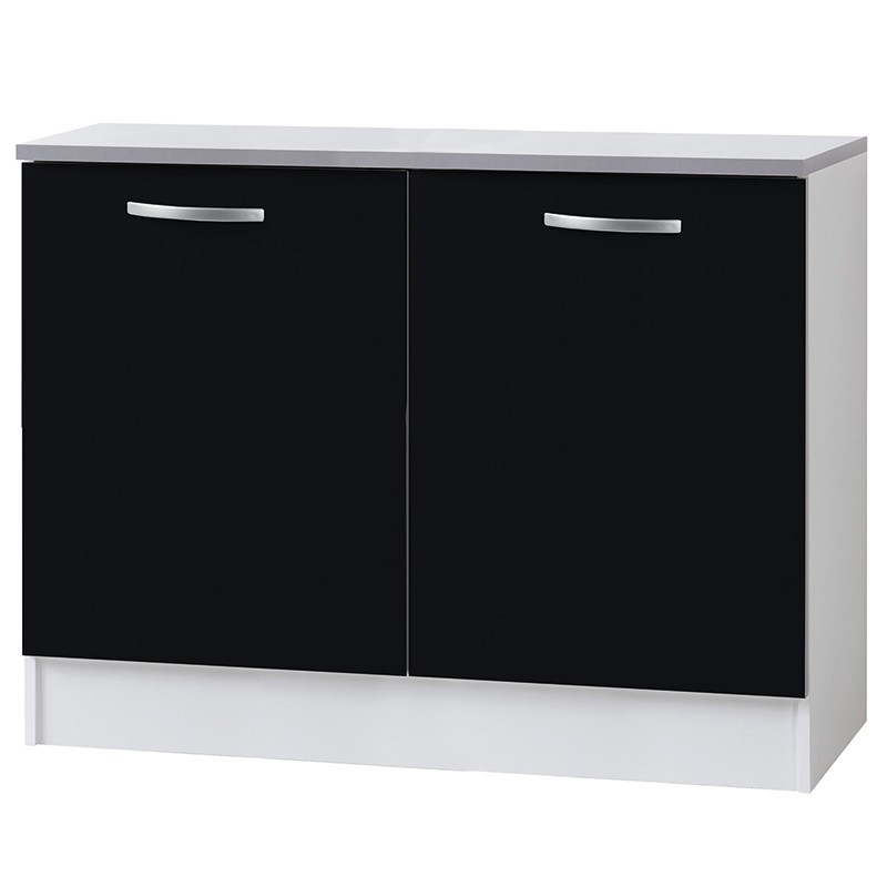 meuble bas 2 portes 120cm smarty noir. Black Bedroom Furniture Sets. Home Design Ideas