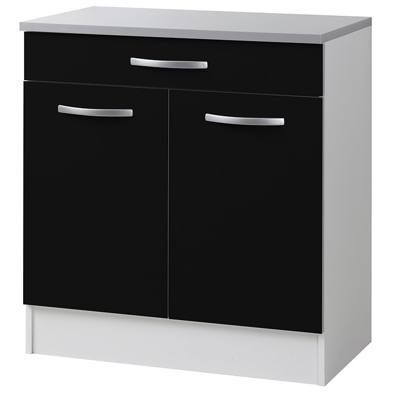 meuble bas 2 portes 1 tiroirs 80cm smarty noir. Black Bedroom Furniture Sets. Home Design Ideas